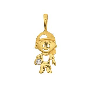 Pingente Ouro Menino Diamante
