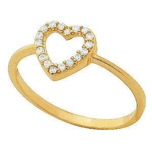 Anel Ouro Coração com Zircônia