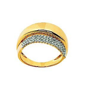 Anel Ouro Diamante com Ródio