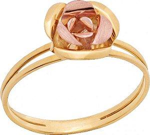 Anel Ouro Rosa Bicolor