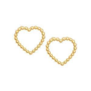 Brinco Ouro Coração Bolinha