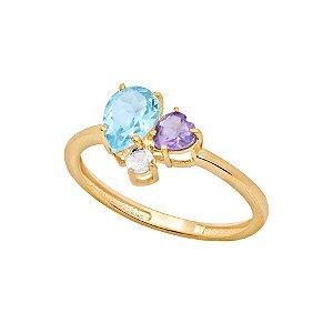 Anel Ouro Topázio, Ametista e Cristal
