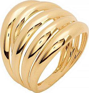 Anel Ouro Cinco Fios Polidos