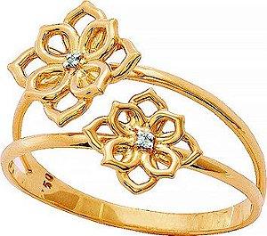 Anel Ouro Flor Dupla com Brilhantes