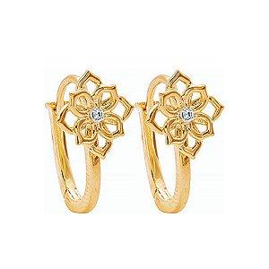 Brinco Ouro Argola Flor com Diamante