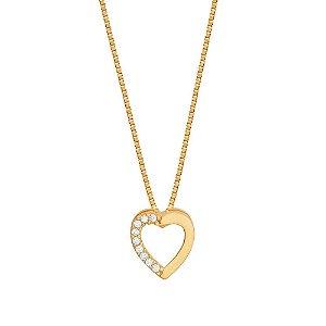 Pingente Ouro Coração com Zircônia