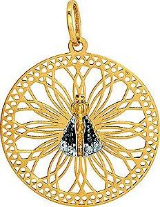 Pingente Ouro Mandala Nossa Senhora Aparecida com Zircônia