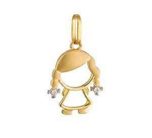 Pingente Ouro Menina com Diamante