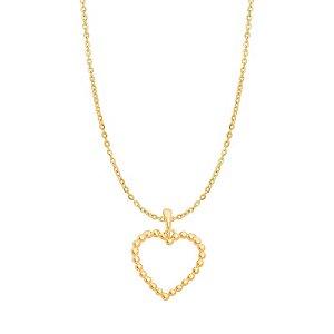Pingente Ouro Coração Bolinha S/Corrente