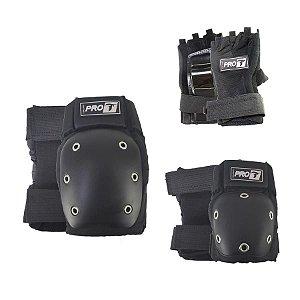 Kit de Proteção Traxart Pro-T DG 300 Preto - Patins e Skate