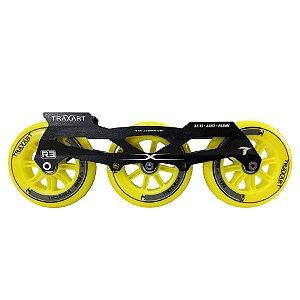 Base Traxart para patins Inline Híbrida DX-007 com 6 rodas 110mm/88a R3 Amarelas Abec 11
