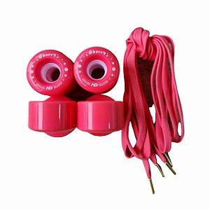 8 Rodas HD inline Quad Cherry + Par de cadarços / Rosa