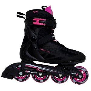 Patins Traxart Traxion Passeio Fitness - Preto com Pink Rodas 80mm