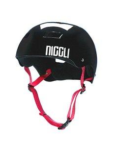 Capacete Niggli Pads Iron Profissional - Preto Brilho Fita Vermelha
