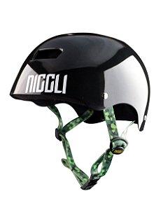 Capacete Niggli Pads Iron Profissional - Preto Brilho Fita Camuflada