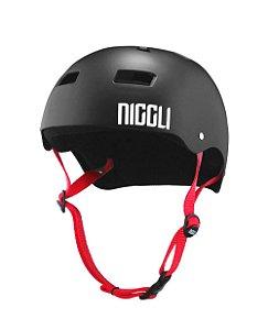 Capacete Niggli Pads Iron Profissional - Preto Fosco Fita Vermelha