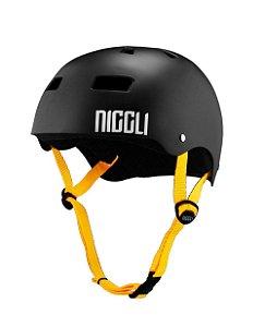 Capacete Niggli Pads Iron Pro - Preto Fosco Fita Amarela
