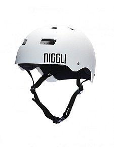 Capacete Niggli Pads Iron Profissional - Branco Fosco Fita Preta