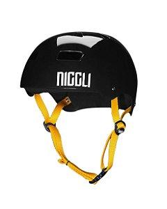 Capacete Niggli Pads Iron Profissional - Preto Brilho Fita Amarelo