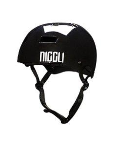 Capacete Niggli Pads Iron Profissional - Preto Brilho Fita Preta