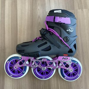 Patins HD Inline Evolution Dark Grey - 3 rodas 110mm / Custom Lilás