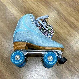Patins Traxart Brilliant Azul com Roda Azul- Quad Clássico / Custom 38 BR