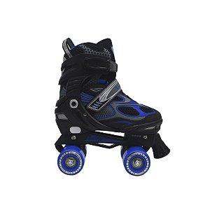 Patins Traxart Infanto Juvenil Mini Trax Preto/Azul - Regulável ABEC-7