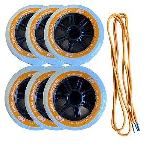 6 rodas Hd inline + par cadarços / Laranja