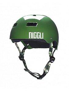 Capacete Niggli Pads Iron Profissional - Verde Brilho fita camuflada
