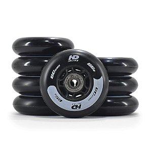 8 Rodas HD inline Skull - 80mm / 85a com espaçadores e rolamentos ABEC9