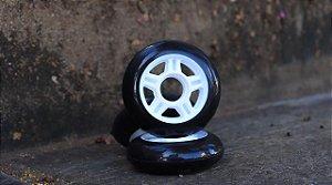 4 Rodas 76mm (82a) - PRETA cubo branco