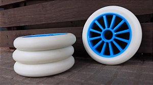 6 Rodas Creme 125mm - Branca (cubo azul)