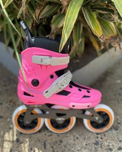 Patins New Skull - Hd inline / Custom Rosa Laranja 110