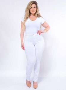 Calça Branca Skinny Plus Size