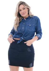 Camisa Jeans Plus Size Recortes