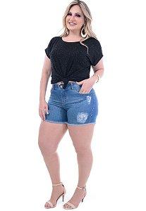 Shorts Jeans Plus Size Stone Puídos