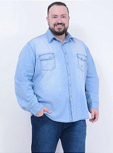 Camisa Jeans Delavê Masculina
