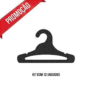 * Leve 12 Pague 10 - Kit  Cabide Juvenil Aberto / Preto H / CS103
