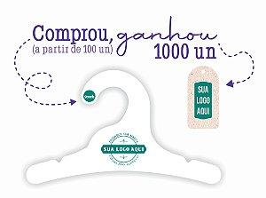Promoção Comprou Ganhou:  Cabide Personalizado com a sua logo / Infantil / Capa Branca / CS100 -Ganhe a Tag Natural 1000 unidades personalizado