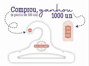 Promoção Comprou Ganhou: Cabide Personalizado com a sua logo / Infantil Aberto / Capa Branca / CS101 Ganhe a Tag Natural 1000 unidades personalizado