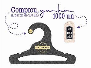 Promoção Comprou Ganhou: Cabide Personalizado com sua logo / Infantil Aberto / Preto H / CS101 Ganhe a Tag Natural 1000 unidades personalizado