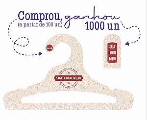 Promoção Comprou Ganhou: Cabide Personalizado com sua logo / Juvenil Aberto / Natural / CS103 - Ganhe a Tag Natural 1000 unidades personalizado
