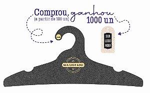 Promoção Comprou Ganhou: Cabide Personalizado com sua logo / Adulto / Preto H / CS104 Ganhe a Tag Natural 1000 unidades personalizado