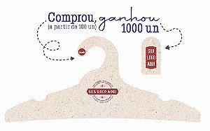 Promoção Comprou Ganhou: Cabide Personalizado com sua logo / Adulto / Natural / Cs104 - Ganhe a Tag Natural 1000 unidades personalizado