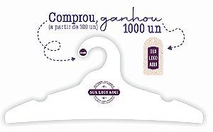 Promoção Comprou Ganhou: Cabide Personalizado com sua logo / Adulto / Capa Branca / CS104 -   Ganhe a Tag Natural 1000 unidades personalizado