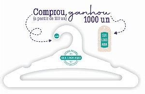 Promoção Comprou Ganhou:  Cabide Personalizado com sua logo / Adulto Aberto / Capa Branca / CS105 -  Ganhe a Tag Natural 1000 unidades personalizado
