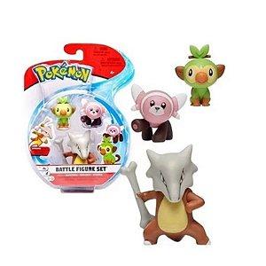 Pokémon - 3 mini figuras - Marowak, Grookey E Stufful