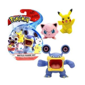Pokémon - 3 mini figuras - Loudred, Pikachu e Jigglypuff