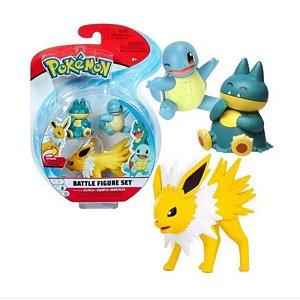 Pokémon - 3 mini figuras - Jolteon, Squirtle e Munchlax
