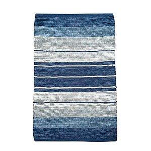 Tapete Kilim Basar 100% Algodão Azul 1mx140cm